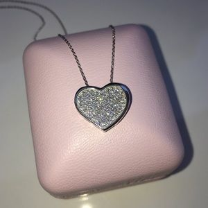 Jewelry - 14k white gold 1 ct diamond heart pave necklace